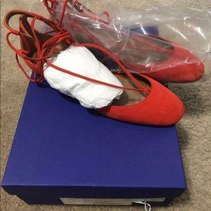 Aquazzura red Ankle Austin Flats  EU 37.5 $695